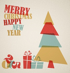 Retro christmas card with christmas tree and gifts vector