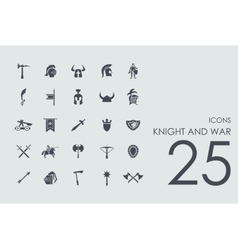 Set of knight and war icons vector