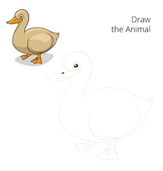 Draw the animal duck educational game vector