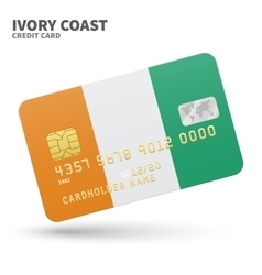 Credit card with Ivory Coast flag background for vector image