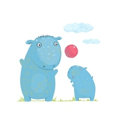 Hippopotamus parent playing ball with a child vector