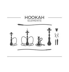 Set of shilhouette Hookah design elements Use for vector image