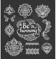 Set of ornamental boho style flowers and elements vector
