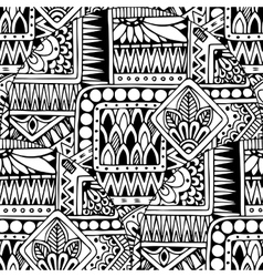 Seamless asian ethnic floral doodle black and vector