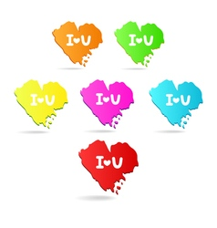 Colored icons hearts i love you valentines day vector
