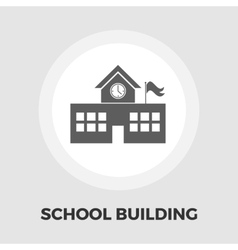 School building icon flat vector