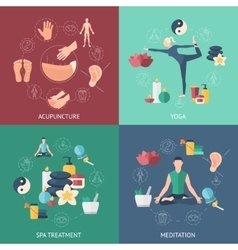 Acupuncture Composition Icon Set vector image
