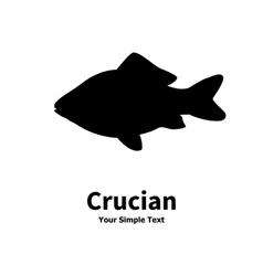 Silhouette of crucian carp vector