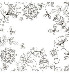 Black and white floral doodle pattern vector