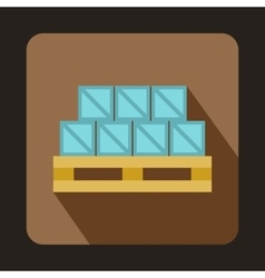 Boxes on wooden palette icon flat style vector