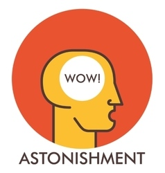 Astonishment Wow Line icon with flat design vector image