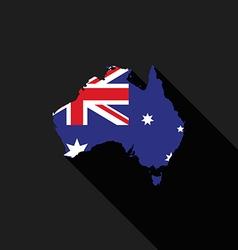 Australia flag map flat design vector image