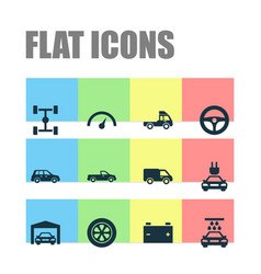Auto icons set collection of truck van car and vector