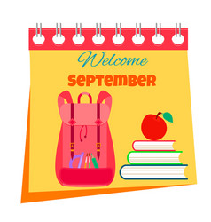 back to school calendar bright background vector image vector image
