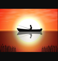background fisherman on boat sunset vector image vector image