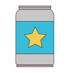 beer can with star emblem in colorful silhouette vector image vector image