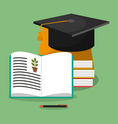 Biology books hat graduation vector