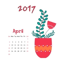 calendar template for April 2017 with vase vector image