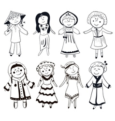 Cartoon women in different traditional costumes vector