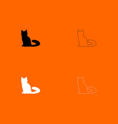 Cat black and white set icon vector