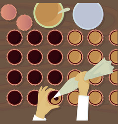 chocolatiers candy fills cream top view vector image vector image