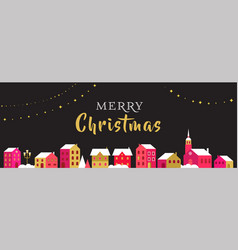 christmas greeting card with winter village vector image vector image