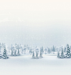 Christmas winter landscape background vector image