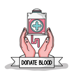 Hands with transfusion tool with cross symbol vector