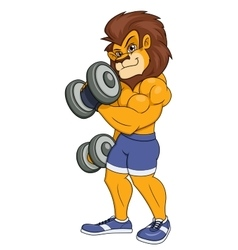 Lion with dumbbells vector