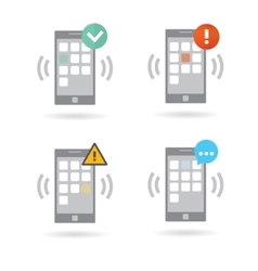 Mobile smart phones set with different push vector image vector image