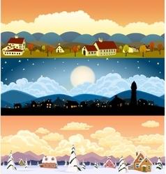 parallax landscape cartoon seamless backgrounds vector image vector image