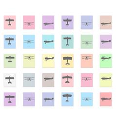 plane set black icon on color sticker vector image