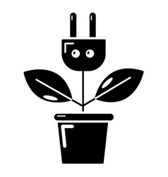 plant in pot and electric plug icon simple style vector image