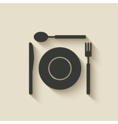 Plate fork knife spoon icon vector