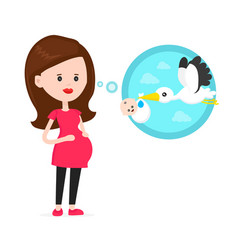 pregnant woman think about flying stork vector image vector image