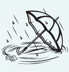 Rain drops rippling in puddle and umbrella vector image vector image
