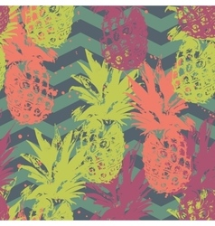 Seamless pattern with pineapple on chevron vector