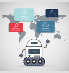 Smart robot with infographic icons design vector