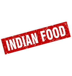 square grunge red indian food stamp vector image vector image