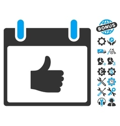 Thumb up calendar day icon with bonus vector