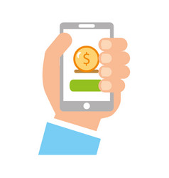 User smartphone with banking app vector