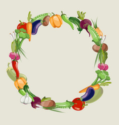 vegetables raw food blank frame vector image