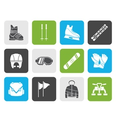 Flat ski and snowboard equipment icons vector