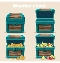 Opened and closed chest with coins diamonds vector image
