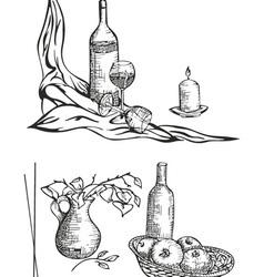 Still life sketches vector