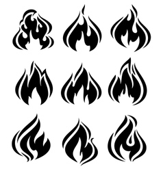 Fire flames set black icons vector