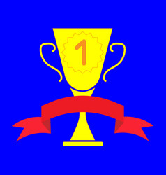 cup winner sign with ribbon 2803 vector image