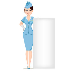 Stewardess in professional uniform cute smiling vector
