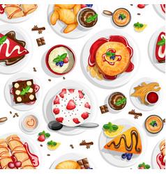 Dessert top view vector