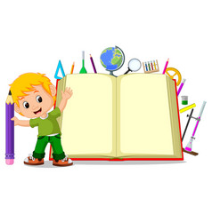 kids with a big book vector image